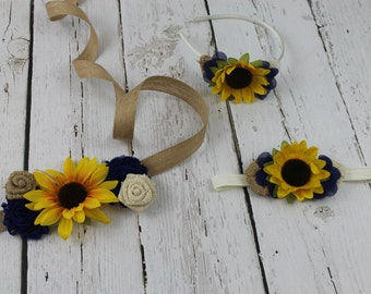 Sunflower Sash & Sunflower Headband Flower Girl Dress Accessory Rustic Girls Navy Dress Junior Bridesmaid Dress Country Shabby Chic Wedding