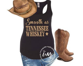Smooth as tennessee whiskey tank, Country tank, country tank top, country shirt, country music shirt, country concert shirt, country concert
