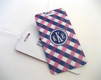 Luggage Tag Pair - Pink and Navy Blue Gingham Custom Monogram Luggage Tag - Personalized Luggage Tag - Travel Tag - Your Monogram