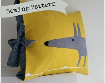 Simple Tied Cushion Cover Sewing Pattern by Lillyblossom. Suitable for beginners, easy to make.