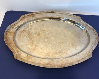 Large Vintage Oval Silver Plated Tray Platter Wm. Mounts USA No. 4205 Hammered Silver Serving Tray Shabby Chic Decor Wedding Table Decor