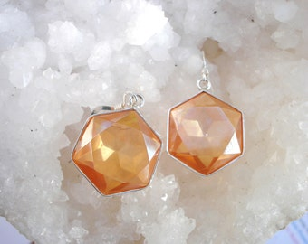 Tangerine Aura Flower of Life Earrings - set in Sterling Silver - A Grade !  Powerful