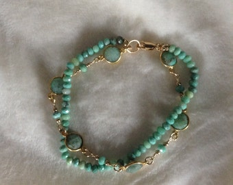Green moss opal and chrysoprase bracelet