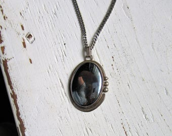 Vintage Sterling Silver Pendant with Hematite