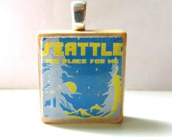 Vintage Seattle sheet music Scrabble tile pendant - Seattle The Place For Me
