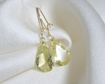 Solid Gold earrings lemon quartz drops cut faceted Lemonquarz beaded facet gold earrings
