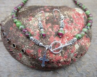 Ruby in Zoisite Necklace Set In Sterling Silver
