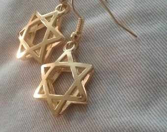 Gold Plated 3D Star of David Earrings, Nickel Free, Lead Free, Star of David Jewelry