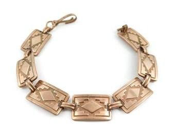 Vintage Copper, Link Bracelet, Southwestern