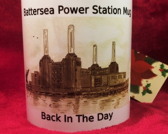 Battersea Power Station 11 oz Porcelain Mug.Retro Style a popular mug. Hand wash mug as some high temperature dish washers may fade print.
