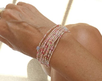 Frosted Rose Long Seed Bead Stretch Bracelet, Necklace, October Birthstone