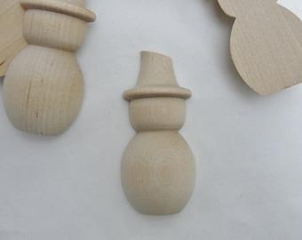 """Split miniature wooden Snowman, mini snowman cut in half, wooden snowmen 2 7/8"""" tall set of 6 unfinished DIY"""