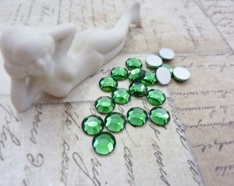 Vintage Swarovski Rhinestone SS42 9mm Glass Chaton Rose Green Tourmaline (8)