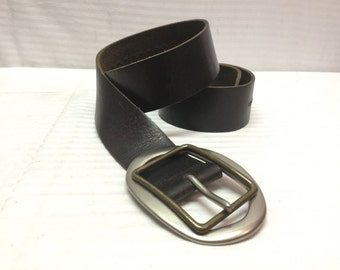 """Brown Leather Belt with Buckle, Made in Canada,34""""-38"""""""
