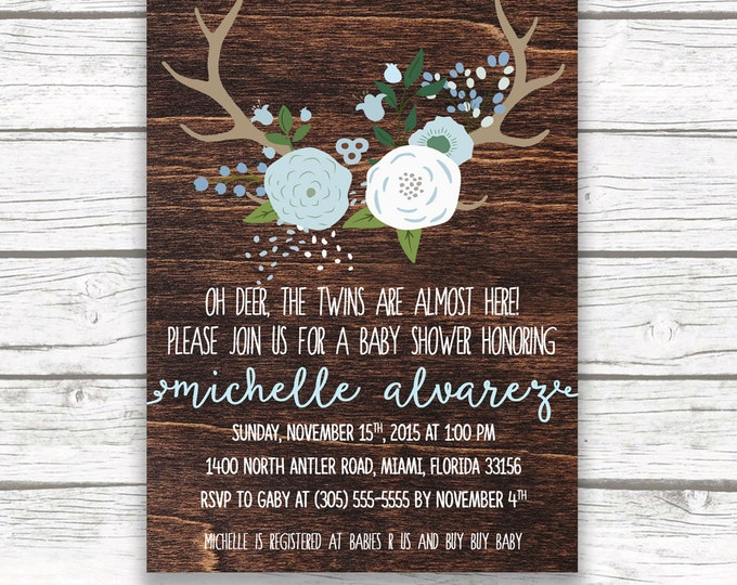 Twin Boy Baby Shower Invitation, Oh Deer Baby Shower Invitation, Rustic  Antler Baby Shower