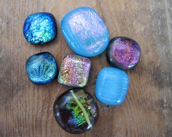 Lot of 7 Freeform Dichroic Cabochons Approximately 14mm to 24mm