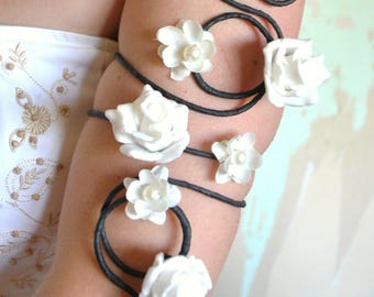 Black and white flower and vine swirl upper arm cuff arm wrap