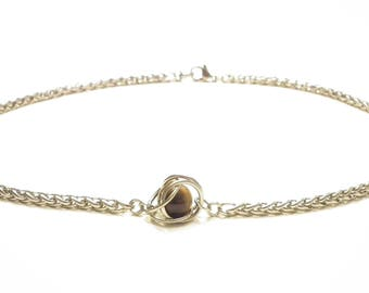 Captured Tiger's Eye stainless steel viking necklace