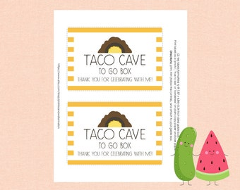 Inspired Dragons Love Tacos party- favor label- favor tags- gable box- birthday- DIY- printables