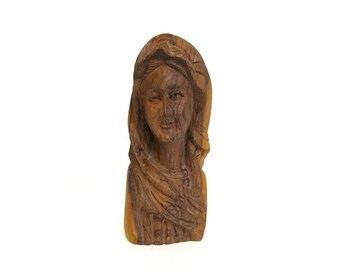 Wooden Bust, hand carved bust of woman, vintage folk art