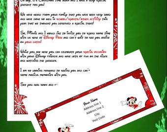 Personalised Christmas Letter From Mickey Announcing Your Trip and Matching Envelope