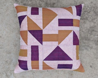 20x20 inch Linen and Cotton Modern Quilted Pillow Cover / Pink + Purple + Orange
