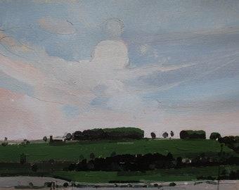 Peut Bloom, printemps Original peinture de paysage sur papier, Stooshinoff