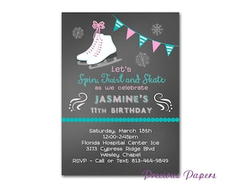 Ice Skating Party Invitations ice skating birthday invitation skating birthday invitation Printable Download within 24 hours