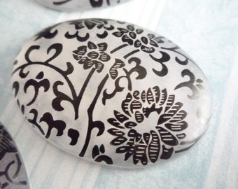 Silver & Black Oval Cabochons with Filigree Floral Design - 40X30mm Cameos - Qty 2