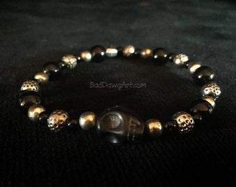 Dia De Los Muertos Sugar Skull Skeleton Punk Gothic Beaded Bracelet