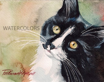 Tuxedo Cat Art Instant Download of Watercolor Painting Black and White Cat Digital Giclee Print of  Home Wall Decor Artwork Picture Image