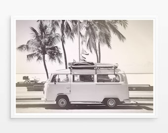 Retro Van Print, Children Room Decor, Digital Download, Old Car Photo, Beach Print, California Wall Art, Gift for Him, Boys Printables