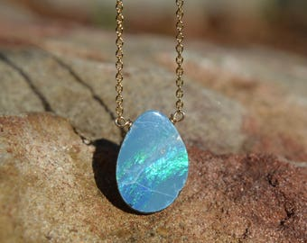 Boulder Opal Necklace on Gold Chain October Birthstone