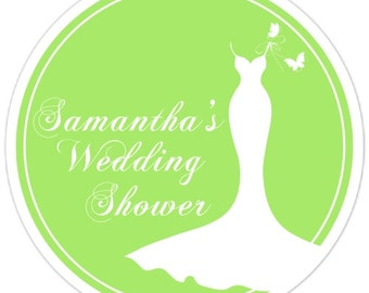 Custom Bridal Shower Labels, Wedding Dress Stickers on Your Favorite Color - Personalized for YOU