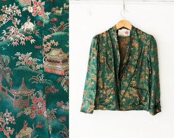 Vintage Chinese jacket, Oriental jacket, Floral Green jacket, Chinese blouse, Long sleeve kimono, Forest green kimono jacket, Dark / Small