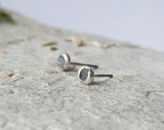 Stud earrings, oxidized sterling silver, handmade ear studs, raw recycled sterling silver
