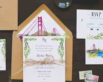 Custom Floral Whimsical Watercolor Invitation: San Francisco