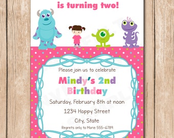 Mini Monsters Inc. Girl Birthday Invitation | Boo, Sulley, Mike, Randal - 1.00 each printed