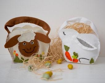 Easter Basket Egg hunt PDF Sewing Pattern , DIY crafts - Easter bunny and Sheep   - table decoration , EGG hunt party