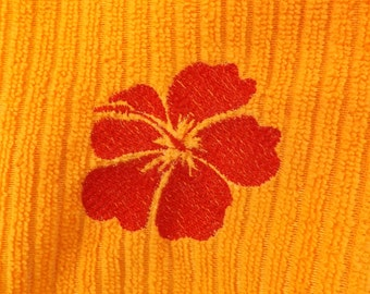 Embroidered Tangerine Kitchen Towel with Hawaiian Hibiscus Flower