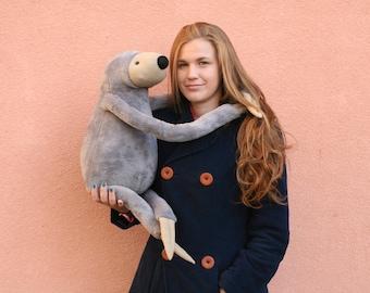 XXL Grey Sloth, stuffed animal toy for children