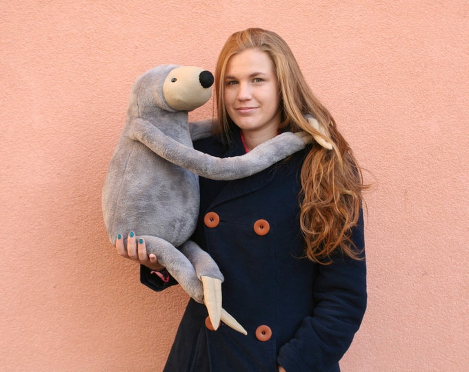 XXL Grey Sloth, stuffed animal toy for children