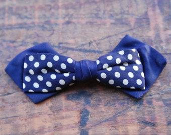 Vintage Bow Tie, Clip On, Navy Blue Polka Dot