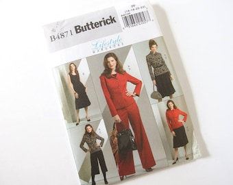 UNCUT Sewing Pattern for Jacket, Dress and Pants, Butterick 4871 Sizes 16, 18, 20, 22, Bust 38 - 44