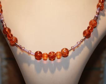 Beautiful Orange & Purple glass bead necklace