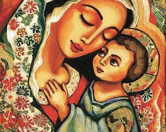 Madonna Child Blessed Mother Virgin Mary Jesus mother son motherhood art Christian art, beauty painting, feminine decor print 8x11+