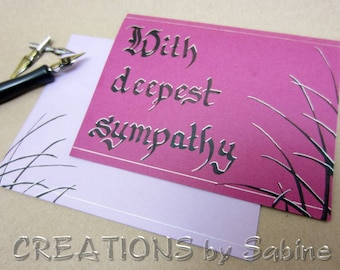 Sympathy Card, Handwritten Calligraphy Greeting Card Deepest Sympathy Original Art / fusia purple pink / free Personalization (26)