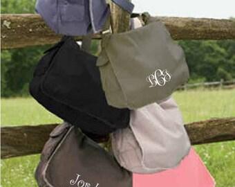 Monogram Messenger Bag, Monogrammed Laptop Bag, Messenger Bag, Personalized Messenger Bag, Canvas Messenger Bag, Field Bag,Comfort Colors