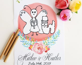 Wedding Activity Book, Coloring Book for Kids, Coloring pages for kids table Kids Wedding Favors, Wedding Favors for kids table