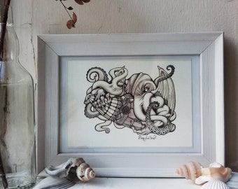 Cthulhu - A5 Print // Octopus / Steampunk / Art Nouveau / 1920 / Submarine / Nautical / Sea Monster / Myths and Legends / Illustration